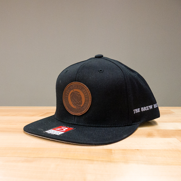 Flatbill Snap-back Hat: Logo Patch -Black