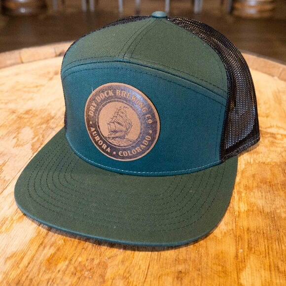 Green & Blue Hat with Leather Patch