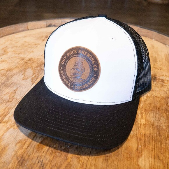 White and Black Hat with Leather Patch